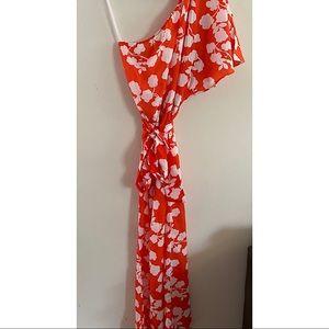 Mid Pie one shoulder orange and white maxi dress